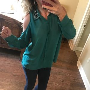 LUSH emerald green top